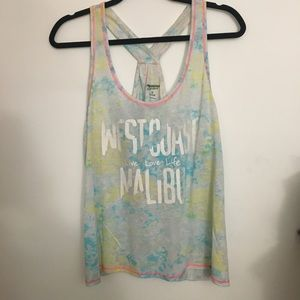 NWOT tie dye slit back blue and green tank top